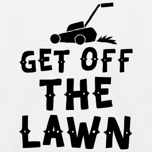 get off the lawn with lawn mower Shirts - Kids' Baseball T-Shirt
