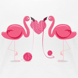 Flamingos Knit A Heart Shape T-Shirts - Women's Premium T-Shirt