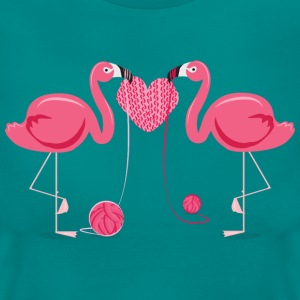 Flamingos Knit A Heart Shape T-skjorter - T-skjorte for kvinner