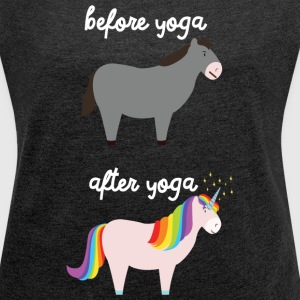 Before Yoga - After Yoga T-shirts - T-shirt med upprullade ärmar dam