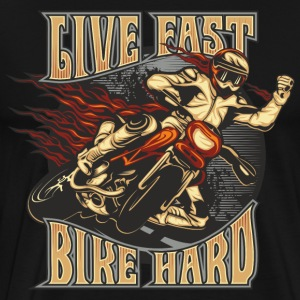 MD - Biker Shirt Motiv - Flame Biker Live Fast - Bike Hard - Fist in the air - RAHMENLOS Geburtstag  T-Shirts - Männer Premium T-Shirt
