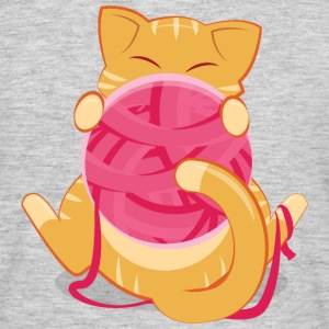 Cat Playing WIth Ball Of Yarn Camisetas - Camiseta hombre