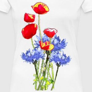 Kornblume Mohn-Collage- T-Shirts - Frauen Premium T-Shirt