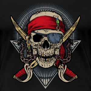 Skull pirate red Augenklappe Twin Sword RAHMENLOS® T-Shirts - Frauen Premium T-Shirt