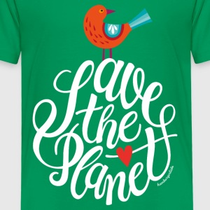 Kelly green save the planet Shirts - Kids' Premium T-Shirt