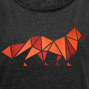 Fox Origami  - Women's T-shirt with rolled up sleeves