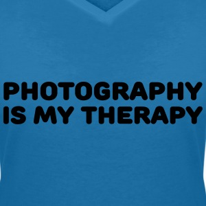 Photography is my therapy T-Shirts - Women's V-Neck T-Shirt