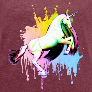 Rainbow Unicorn Graffiti T-Shirts - Frauen T-Shirt mit gerollten Ärmeln