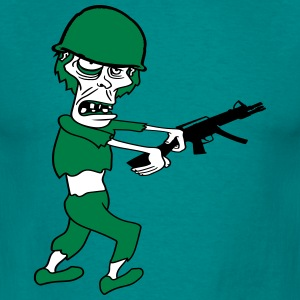 soldier machine gun military army war zombie run g T-Shirts - Men's T-Shirt