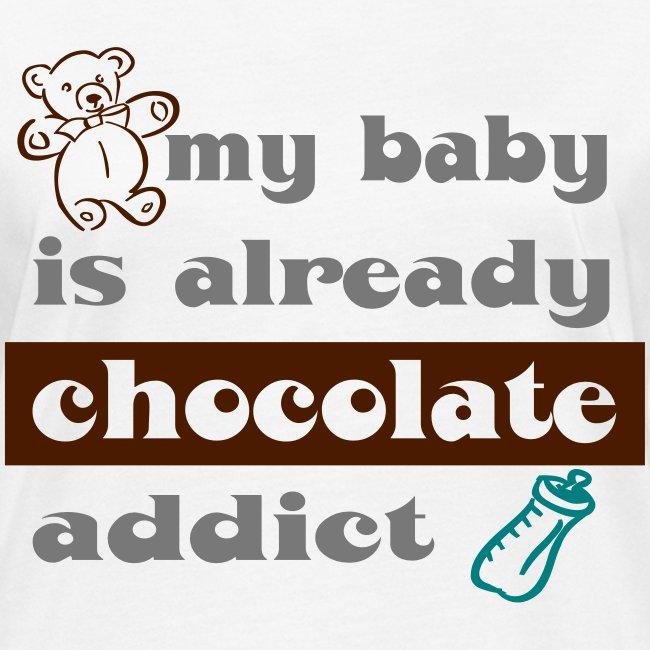 "Tee shirt bio pour femmes ""My baby is already chocolate addict"""