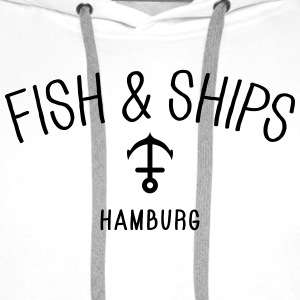 Fish and Ships Hamburg Bluzy - Bluza męska Premium z kapturem