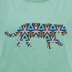 Jaguar Kaleidoscope Design 1 T-Shirts - Women's T-shirt with rolled up sleeves