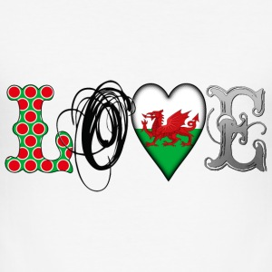 Love Wales Black T-Shirts - Men's Slim Fit T-Shirt