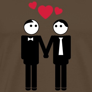 gay couple / couple in love hearts 3c T-Shirts - Men's Premium T-Shirt
