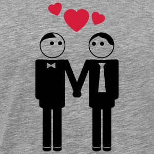 gay couple / couple in love hearts 2c T-Shirts - Männer Premium T-Shirt