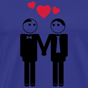 gay couple / couple in love hearts 2c T-Shirts - Men's Premium T-Shirt