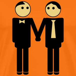 gay couple / gay couple hand in hand 2c T-Shirts - Men's Premium T-Shirt