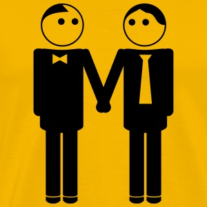 gay couple / gay couple hand in hand 1c T-Shirts - Männer Premium T-Shirt