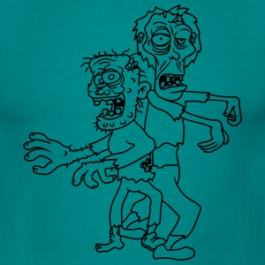 2 zombies buddies kumpels team party go running ug T-Shirts - Men's T-Shirt