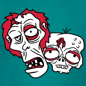 2 friends team party crew zombies zombie face head T-Shirts - Men's T-Shirt
