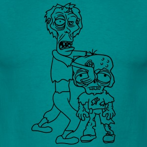 2 friends team few papa child boy family zombie ru T-Shirts - Men's T-Shirt