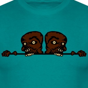 2 friends team watch some wall climbing wall shiel T-Shirts - Men's T-Shirt
