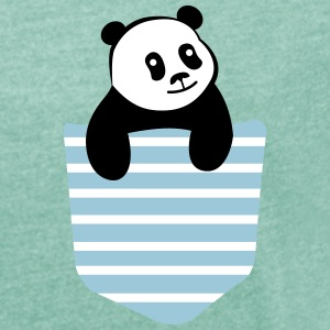 Panda Stripe Pocket T-Shirts - Women's T-shirt with rolled up sleeves
