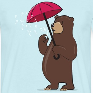 Bear With Dandelion And Umbrella T-shirts - Mannen T-shirt