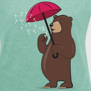 Bear With Dandelion And Umbrella Tee shirts - T-shirt Femme à manches retroussées