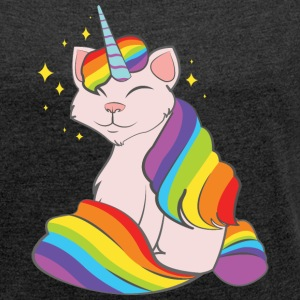 Caticorn T-Shirts - Women's T-shirt with rolled up sleeves