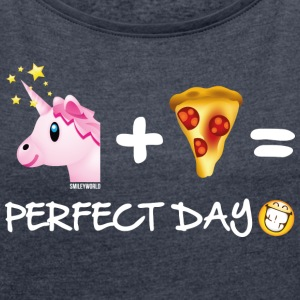 SmileyWorld Perfect Day - Vrouwen T-shirt met opgerolde mouwen