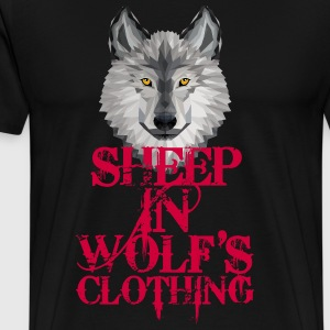Sheep In Wolf's Clothing - red + Grey Wolf - Männer Premium T-Shirt