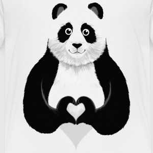 Cute Panda Heart Hand Sign T-shirts - Børne premium T-shirt