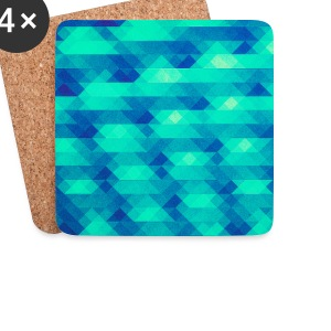 Triangle pattern geometry - (HDR green) design Mugs & Drinkware - Coasters (set of 4)