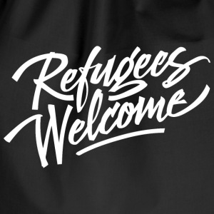 refugees welcome white Bags & Backpacks - Drawstring Bag