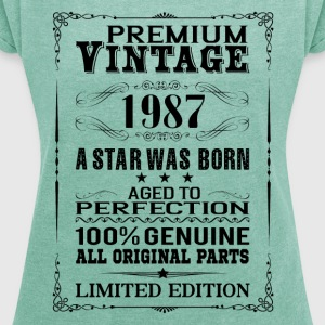 PREMIUM VINTAGE 1987 T-Shirts - Women's T-shirt with rolled up sleeves