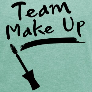 team makeup typo with mascara Women's T-shirt wi - Women's T-shirt with rolled up sleeves