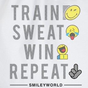 SmileyWorld Train Sweat Win Repeat - Turnbeutel