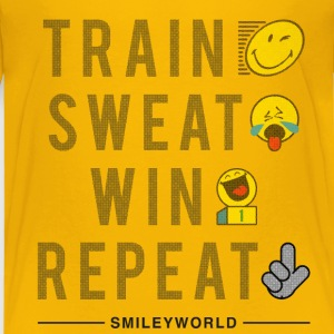 SmileyWorld Train Sweat Win Repeat - Børne premium T-shirt
