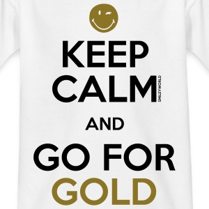 SmileyWorld Keep Calm and Go for Gold - Maglietta per ragazzi