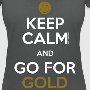 SmileyWorld Keep Calm and Go for Gold - T-shirt col V Femme