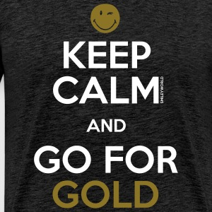 SmileyWorld Keep Calm and Go for Gold - Herre premium T-shirt