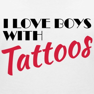 I love boys with tattoos T-Shirts - Women's V-Neck T-Shirt