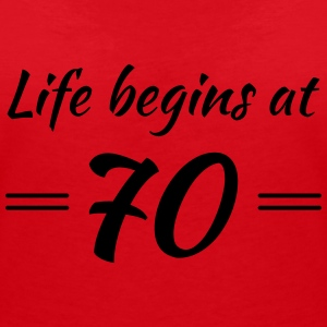 Life begins at 70 T-Shirts - Women's V-Neck T-Shirt