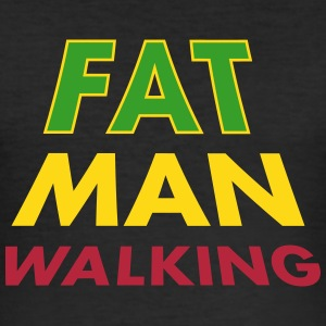 fat man walking_vec_3 de T-Shirts - Männer Slim Fit T-Shirt