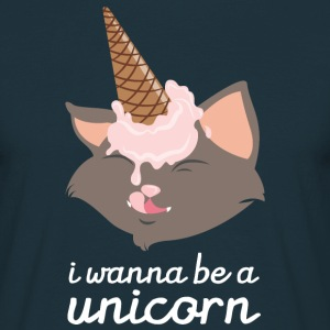 I Wanna Be A Unicorn (Cat With Ice Cream Cone) T-Shirts - Männer T-Shirt