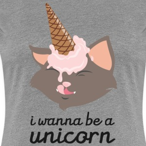I Wanna Be A Unicorn (Cat With Ice Cream Cone) Koszulki - Koszulka damska Premium