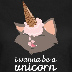 I Wanna Be A Unicorn (Cat With Ice Cream Cone) T-Shirts - Frauen T-Shirt