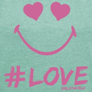 SmileyWorld Glitter I'm in #Love - Frauen T-Shirt mit gerollten Ärmeln