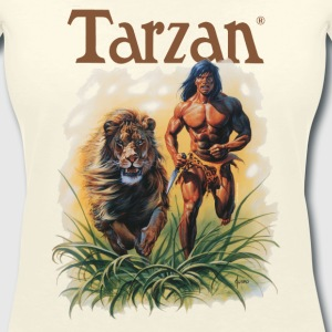 Tarzan running with a lion - T-skjorte med V-utsnitt for kvinner